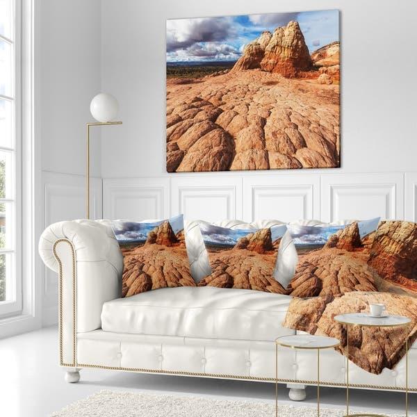 Designart Tough Rocks In Vermillion Cliffs Landscape Printed Throw Pillow On Sale Overstock 20948548
