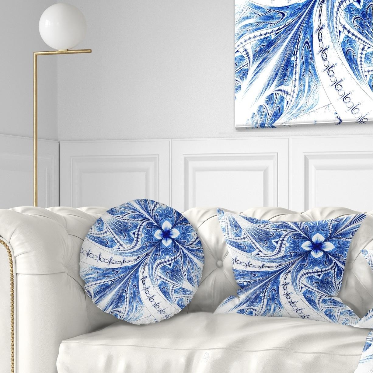 Designart Light Blue Fractal Flower Pattern Digital Floral Throw Pillow On Sale Overstock 20948569
