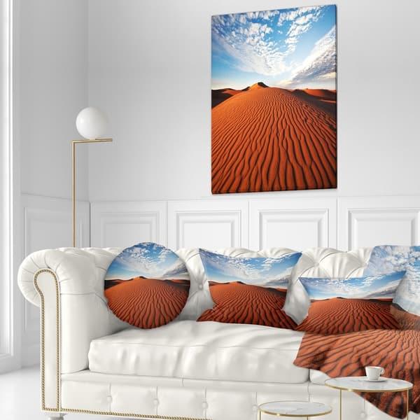 Designart Sahara Dunes Under Bright Sky Landscape Printed Throw Pillow On Sale Overstock 20948570