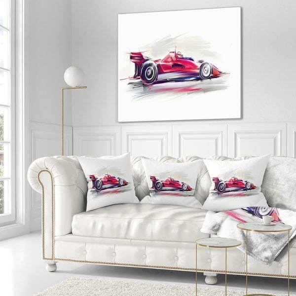 Sofa Throw Pillow 12 X 20 Designart Cu7319 12 20 Red Formula One Digital Art Car