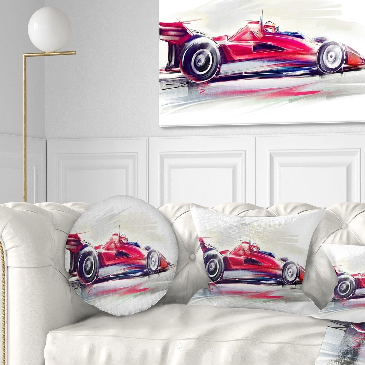 Designart Cu7319 12 20 Red Formula One Digital Art Car Lumbar Cushion Cover For Living Room Sofa Throw Pillow 12 X 20 Throw Pillow Covers Home Kitchen