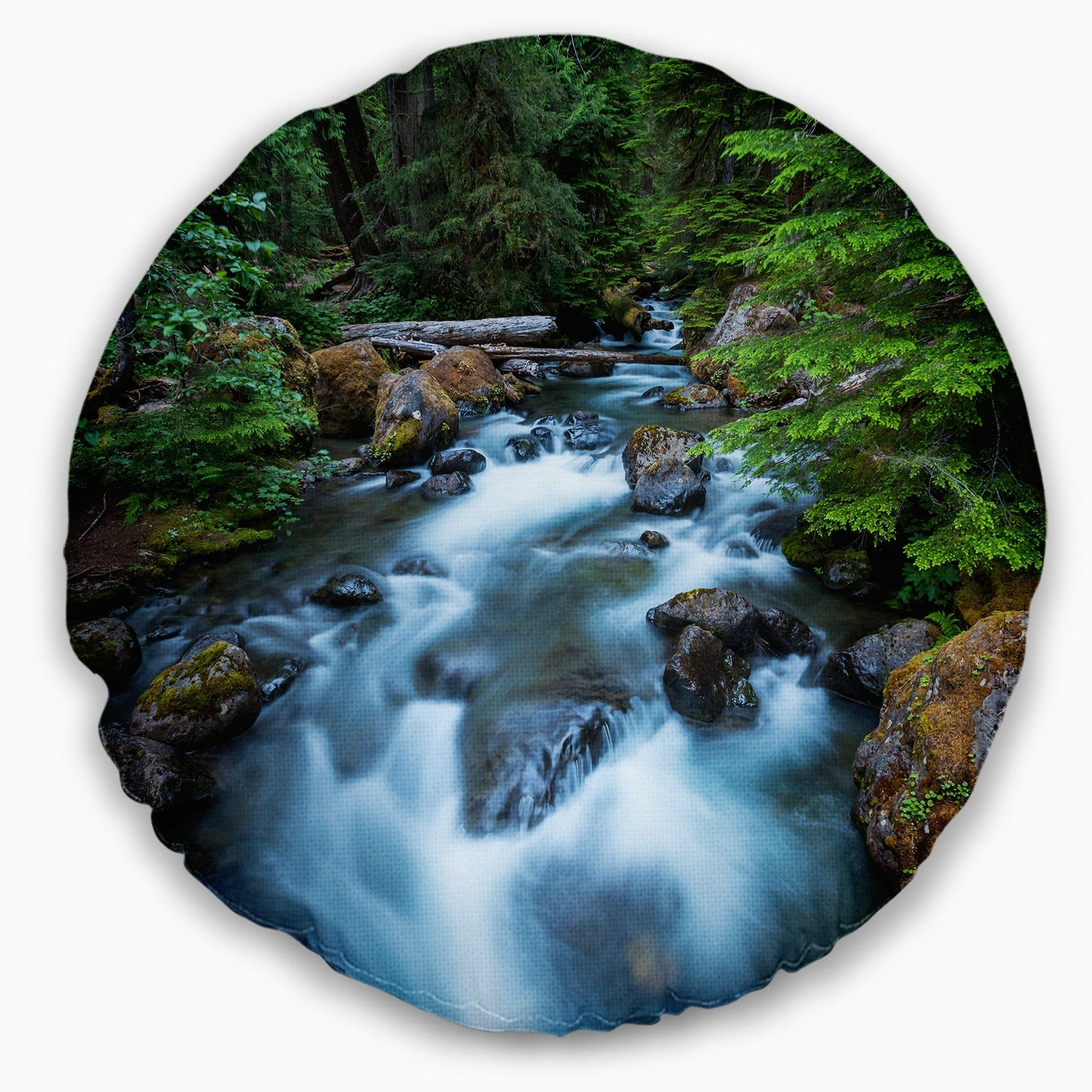 Shop Designart Rushing Water In Forest Creek Landscape Printed Throw Pillow Free Shipping On Orders Over 45 Overstock 20948603