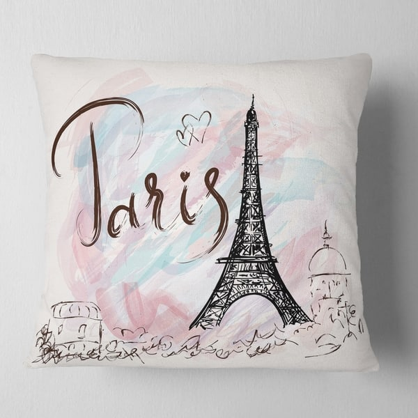 Designart Illustration With Paris Eiffel Tower Abstract Cityscape Throw Pillow Overstock 20948610