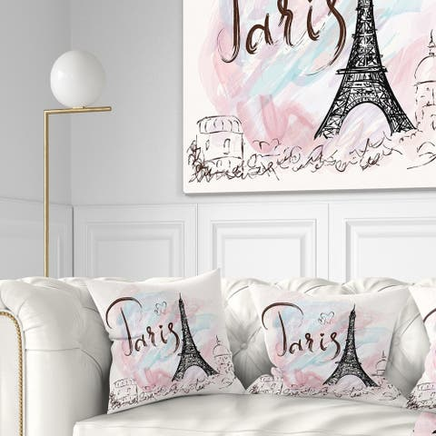 Designart 'Illustration with Paris Eiffel Tower' Abstract Cityscape Throw Pillow