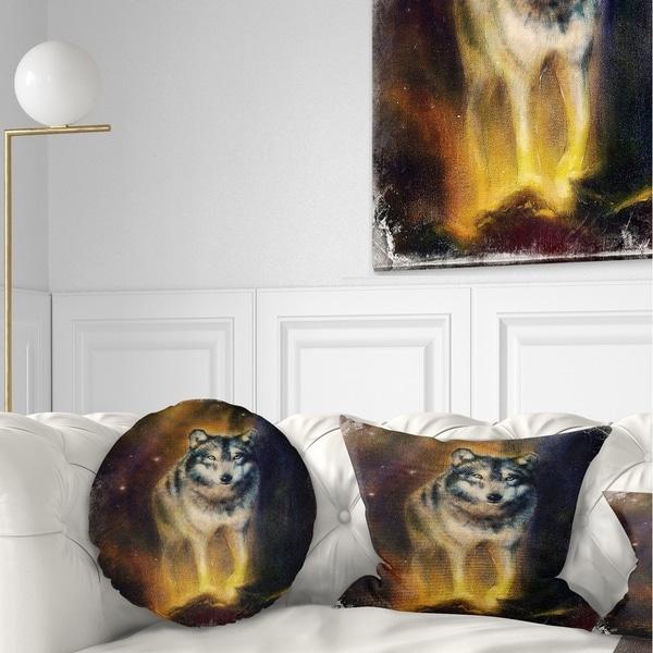 Designart 'Calm Wolf Illustration' Animal Throw Pillow