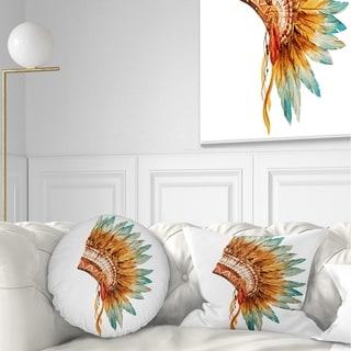 Designart 'Feathers on Ethnic Skull' Abstract Throw Pillow