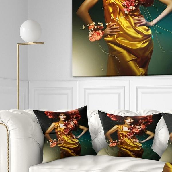 Designart 'Sensual Woman in Yellow Dress' Portrait Throw Pillow