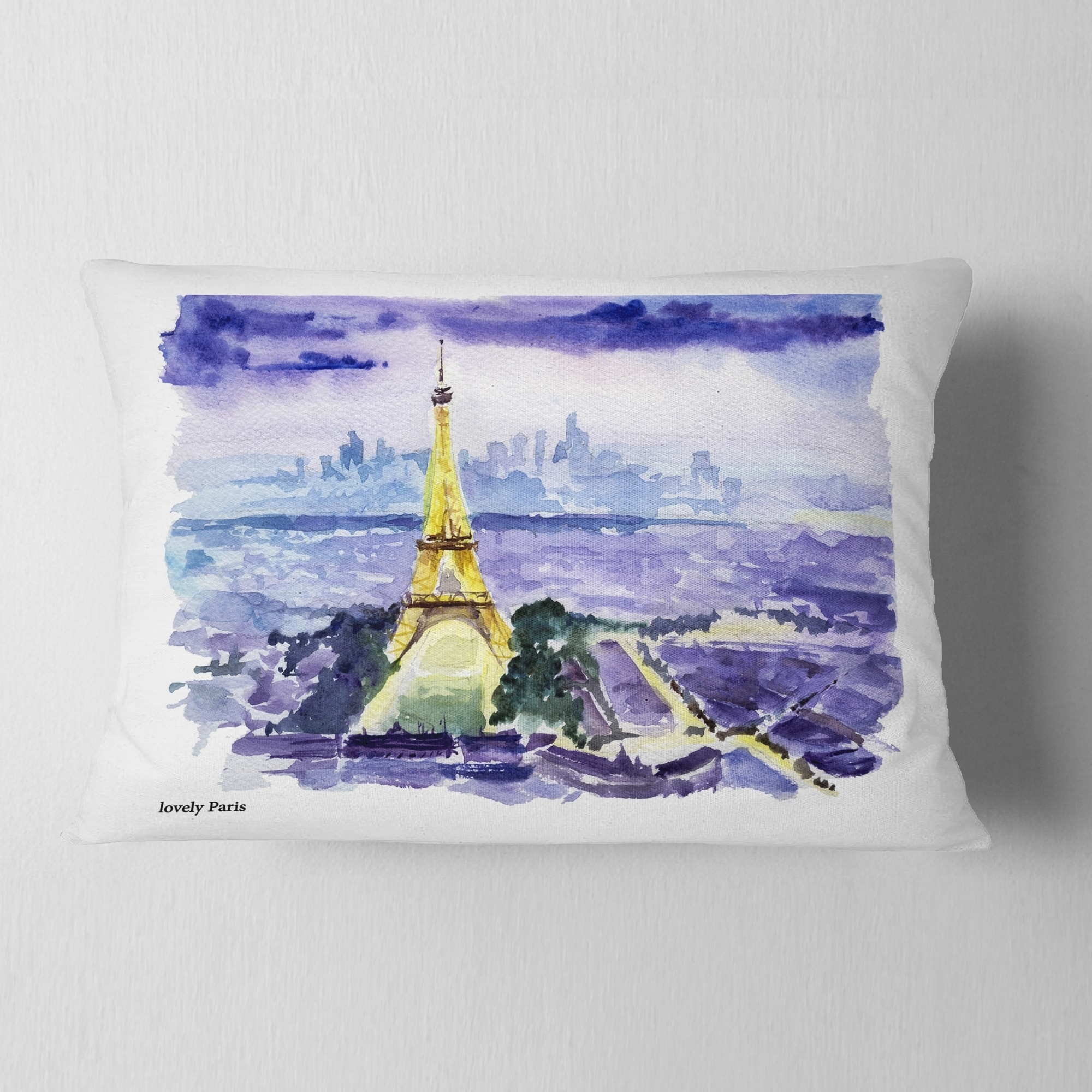 Designart Paris Eiffel Toweron Blue Background Contemporary Throw Pillow On Sale Overstock 20948690