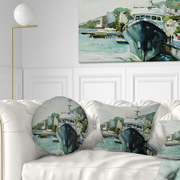 Designart 'Yacht in Port Yalta' Landscape Printed Throw Pillow