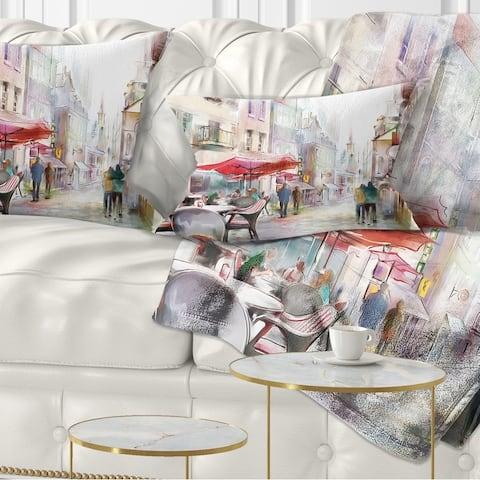 Designart 'Illustrated Street Art Cityscape' Abstract Cityscape Throw Pillow