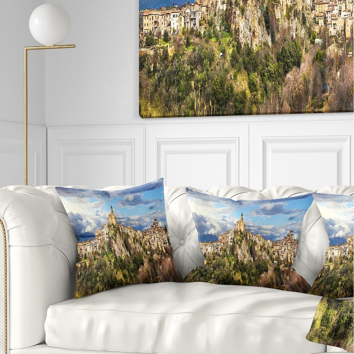 Designart CU7454-18-18 Toffia Hilltop Village Italy Landscape Printed Throw Pillow 18 x 18