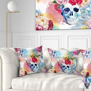 Designart 'Ethnic Skull with Flowers' Floral Throw Pillow