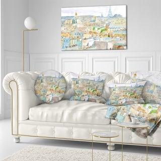 Designart 'City of Paris' Watercolor Cityscape Throw Pillow
