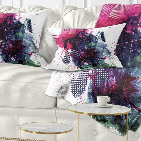 Designart 'Multicolor Abstract Stain' Abstract Throw Pillow