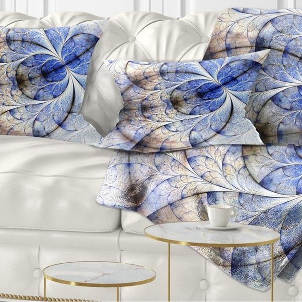 Designart 'Symmetrical Gold Blue Fractal Flower' Floral Throw Pillow