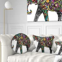 Designart 'Floral Cheerful Elephant' Animal Throw Pillow