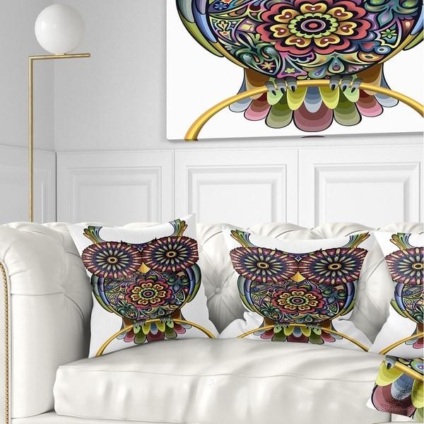 Designart 'Funny Owl' Animal Throw Pillow