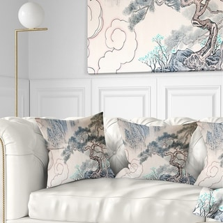 Designart 'Chinese Blue Tree Art' Floral Painting Throw Pillow