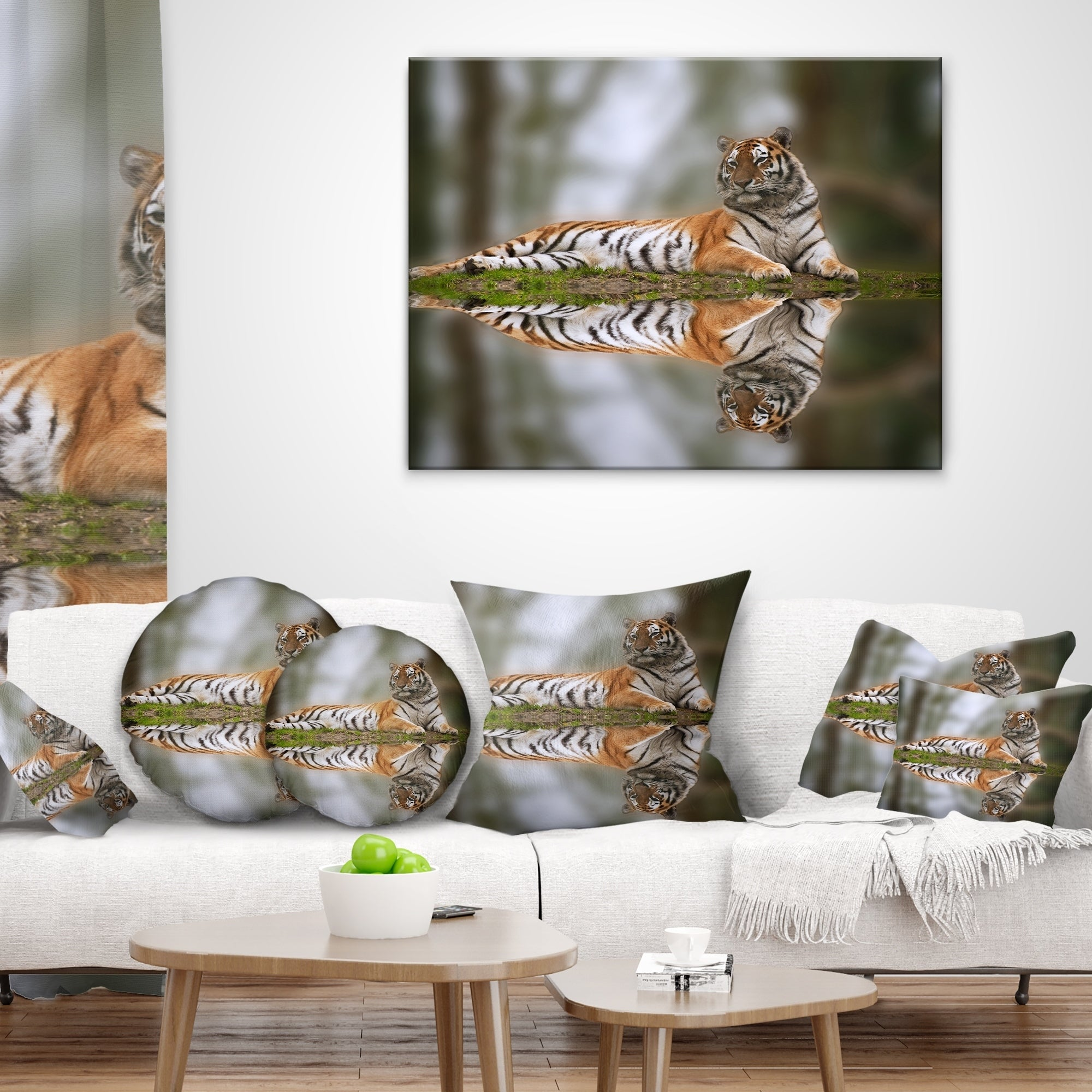 Designart Tiger Reflecting In Water Animal Throw Pillow Overstock 20948854