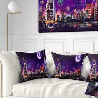 Designart 'Eid Celebration in Dubai' Cityscape Digital Throw Pillow