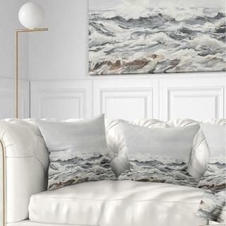 Designart 'Grey Sea Waves' Seascape Throw Pillow
