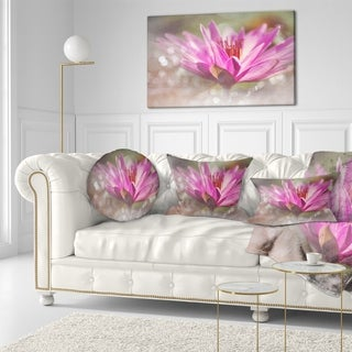 Designart 'Pink Lotus on Abstract Background' Floral Throw Pillow