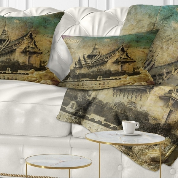 Designart 'Vintage Style Sky Castle' Contemporary Throw Pillow