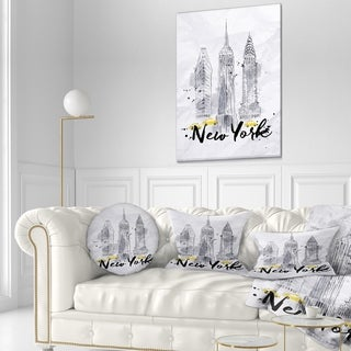 Designart 'New York Buildings Watercolor' Cityscape Throw Pillow (More options available)