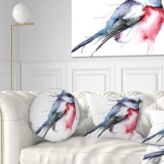 Designart 'Bird in Blue and Red' Watercolor Animal Throw Pillow