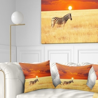 Designart 'Scenic African View with Zebra' Landscape Printed Throw Pillow