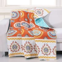 Barefoot Bungalow Rozario Tangerine Quilted Throw