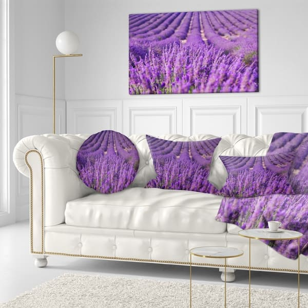 Designart Beautiful Fragrant Lavender Fields Floral Throw Pillow On Sale Overstock 20948989