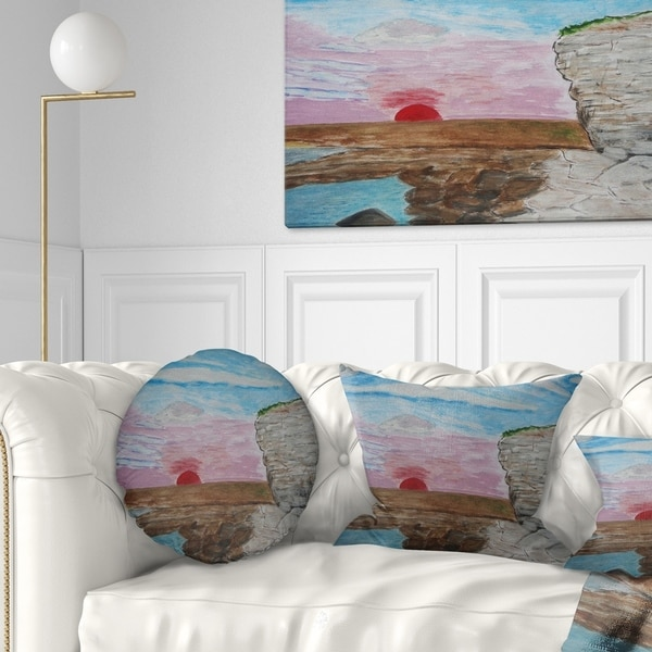 Designart 'Sunset Seashore' Seascape Throw Pillow
