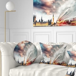 Designart 'Night Scene of London City' Cityscape Photo Throw Pillow (More options available)