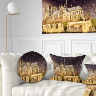 Designart 'Notre Dame Cathedral at Night' Cityscape Photo Throw Pillow