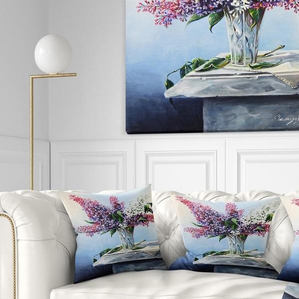 Designart 'Lilac Bouquet' Floral Throw Pillow