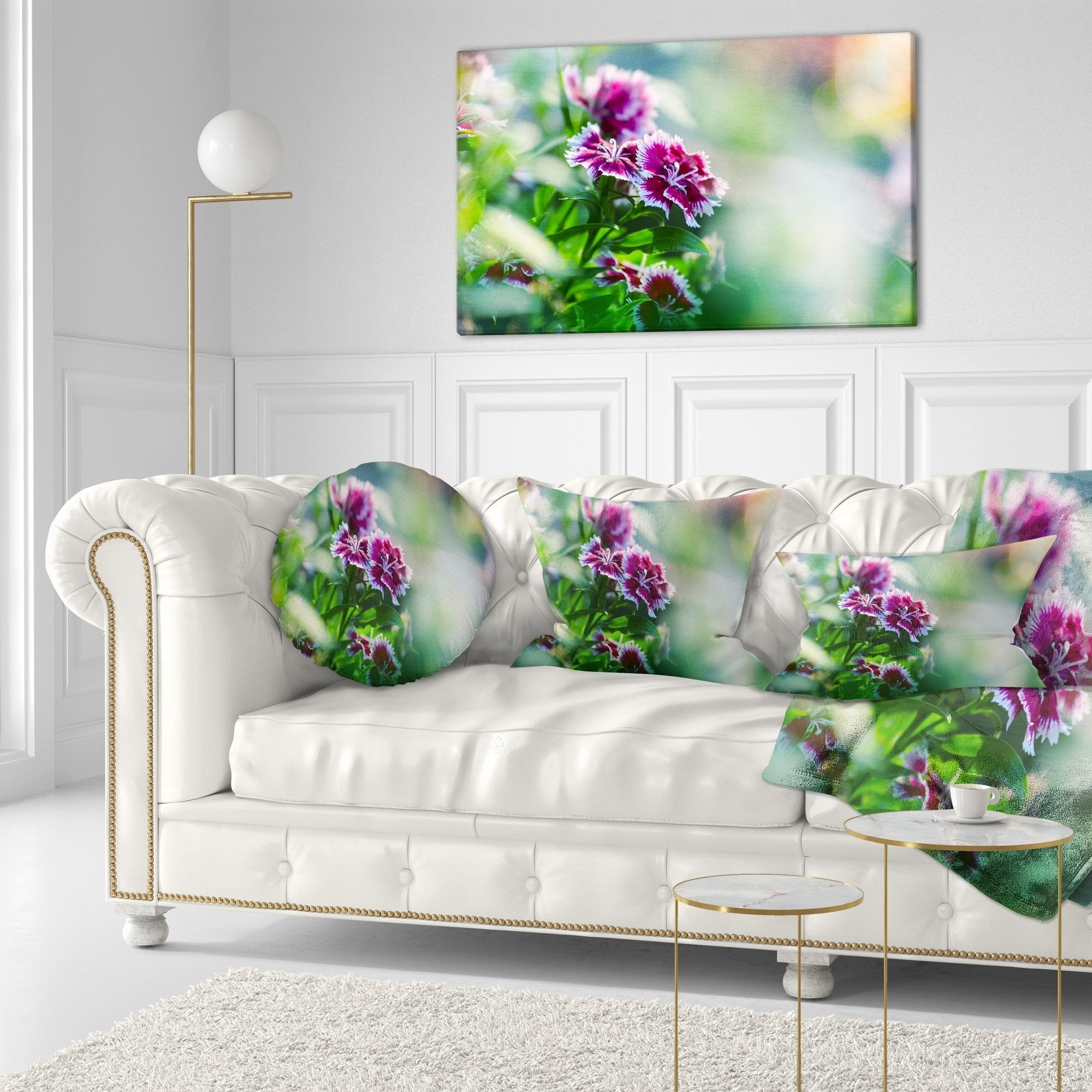 Designart Pink Flowers On Green Background Floral Throw Pillow On Sale Overstock 20949035