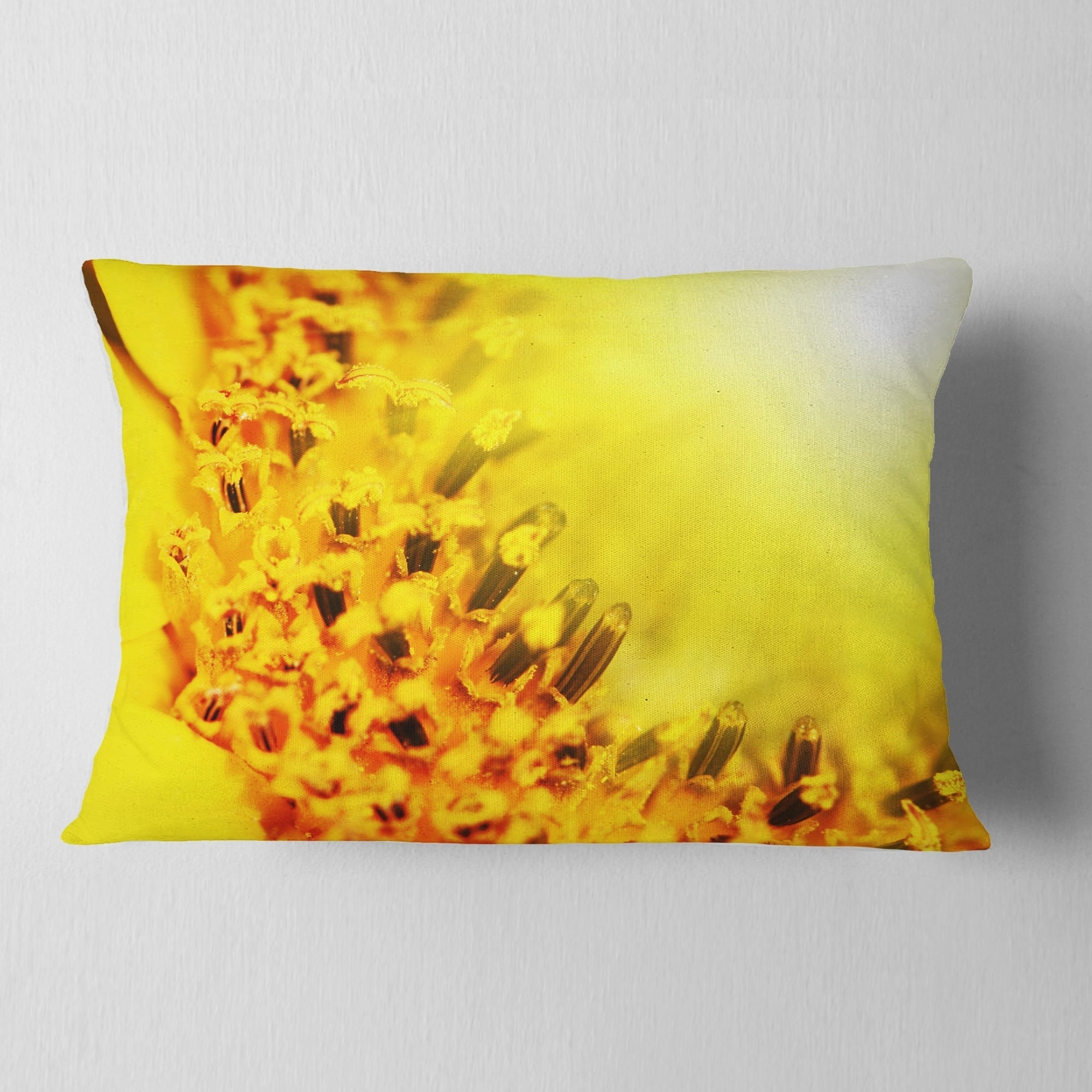 Designart Bright Yellow Sunflower Close Up Floral Throw Pillow Overstock 20949048