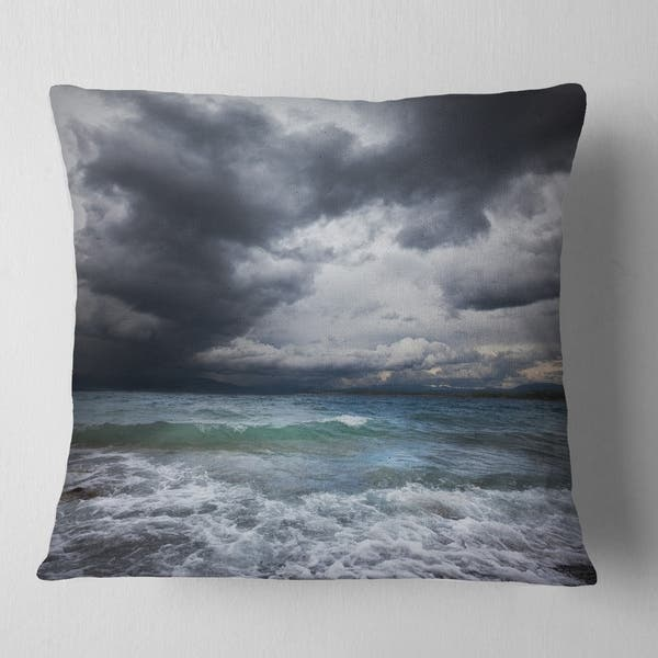 Designart Troubled Sea Under Stormy Sky Beach Photo Throw Pillow On Sale Overstock 20949078