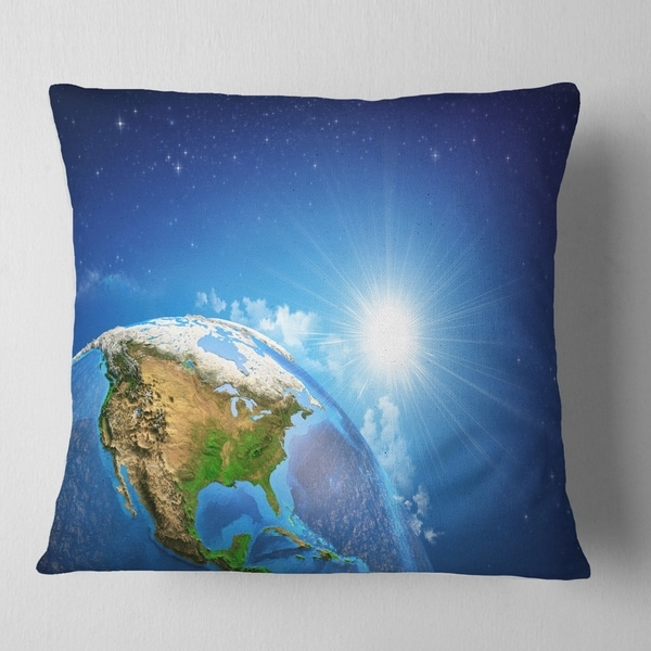 X 18 In Sofa Throw Pillow 18 In In Designart Cu7040 18 18 Sunrise Over The Earth Landscape Abstract Cushion Cover For Living Room Insert Printed On Both Side Throw Pillow Covers