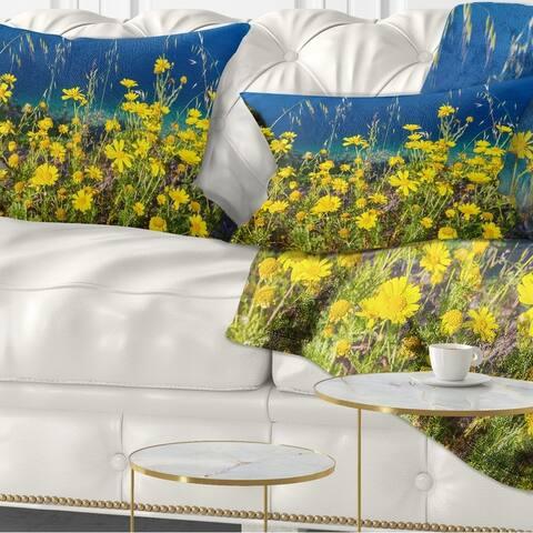 Designart 'Wild Yellow Flowers over Sea Coast' Flower Throw Pillow