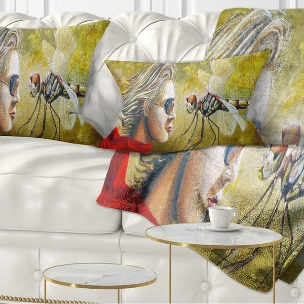 Designart 'Human and Dragon Fly' Abstract Throw Pillow