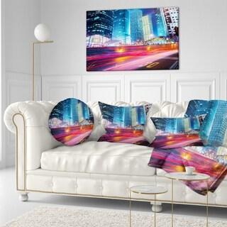 Designart 'Modern City Night Scene' Cityscape Photo Throw Pillow