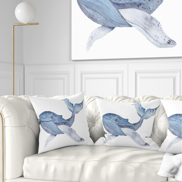 Designart 'Large Watercolor Whale' Animal Throw Pillow