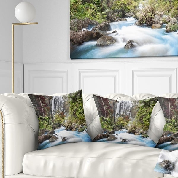 Designart 'Blue Klonglan Waterfall' Photography Throw Pillow