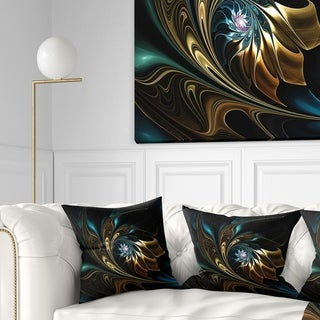 Designart 'Brown Blue Fractal Flower in Black' Abstract Throw Pillow
