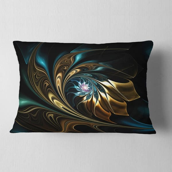 Designart Brown Blue Fractal Flower In Black Abstract Throw Pillow Overstock 20949222