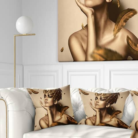Designart 'Sexy Woman in Gold Hat' Sensual Throw Pillow