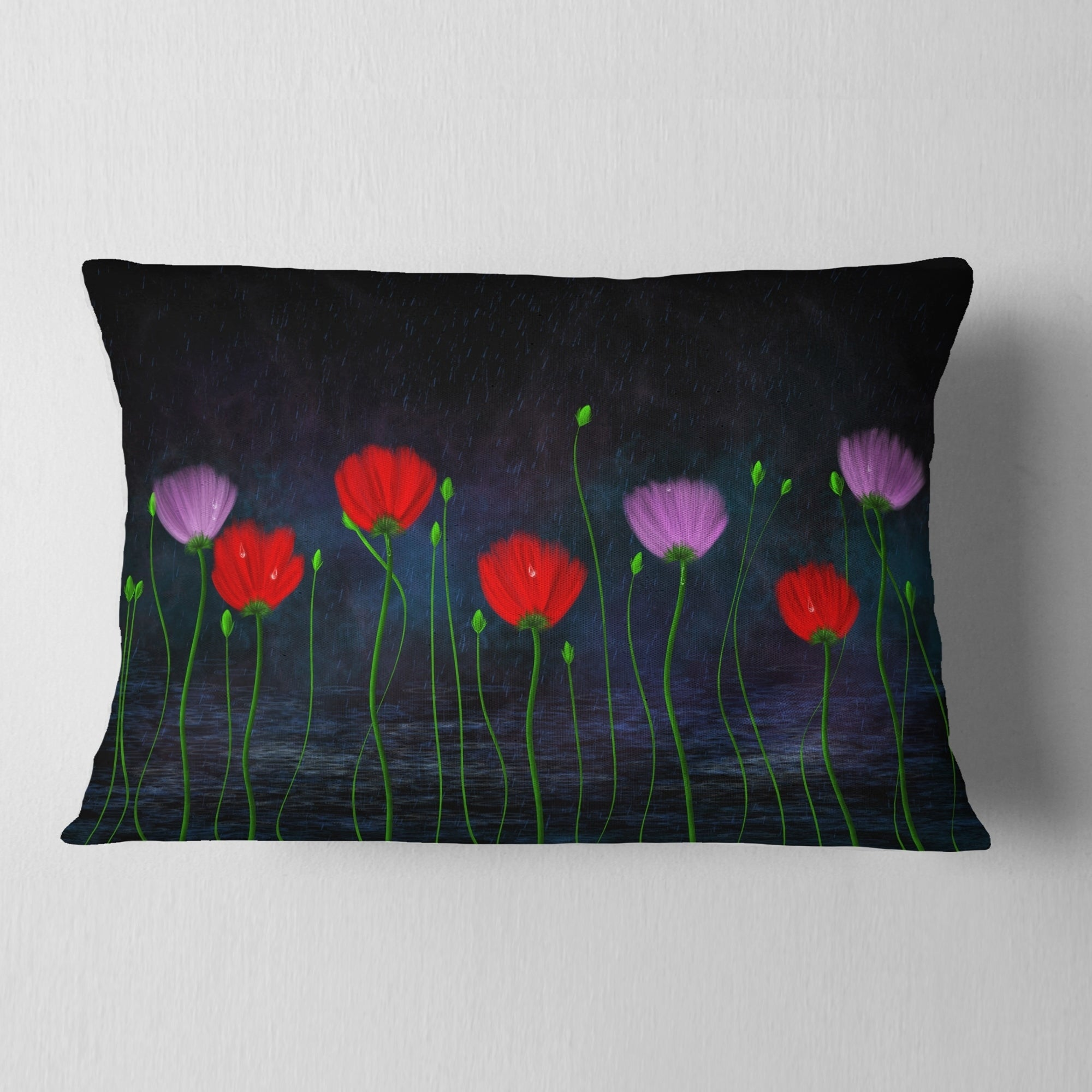 Designart Rain And Flowers With Buds And Drops Floral Throw Pillow Overstock 20949317