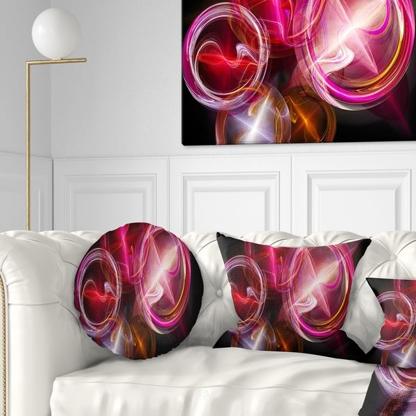 Designart 'Red Fractal Desktop' Abstract Throw Pillow